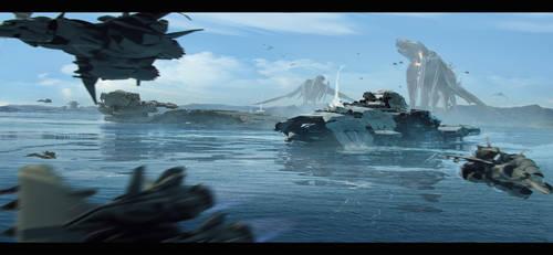 Battleship assault on Kaiju by bradwright