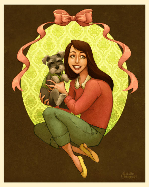 A Girl and a Puppy by Kecky