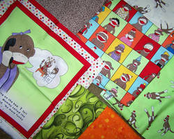 fabric sock monkey quilt contemplation 1