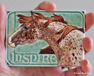 Inspire, appaloosa ATC in ceramic by LesliKathman