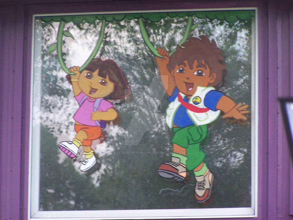 Dora and diego window mural by peacekeeperj3low on deviantart for Dora wall mural