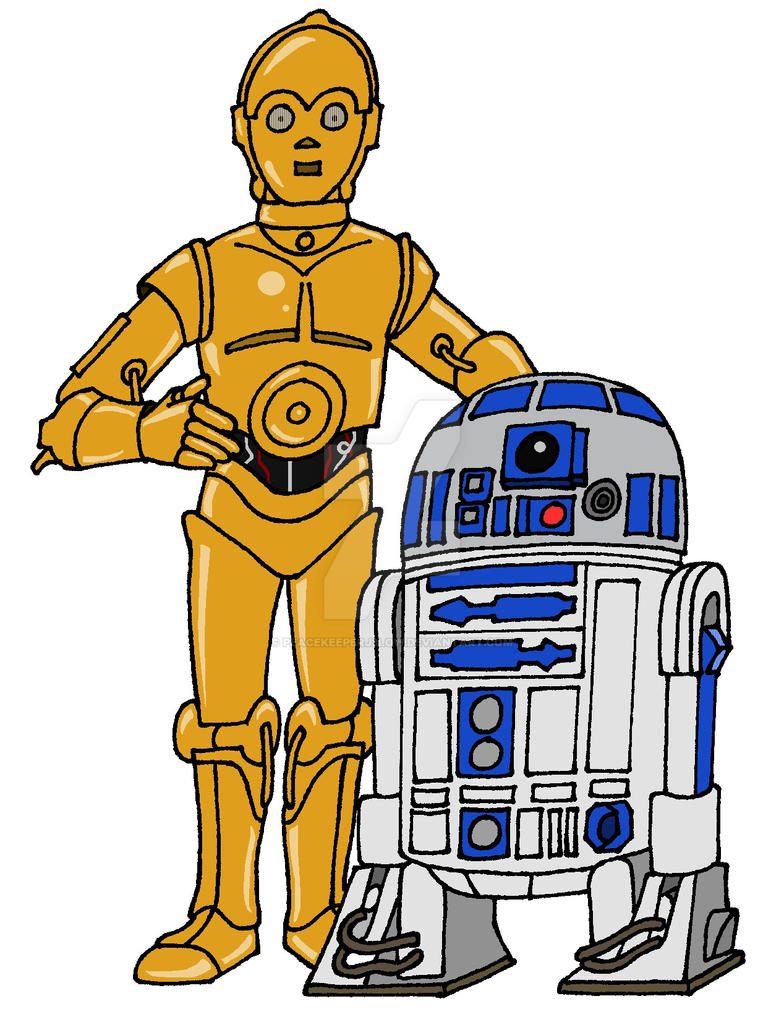 R2d2 And C3po Drawing C-3PO and R2-D2 by Pea...