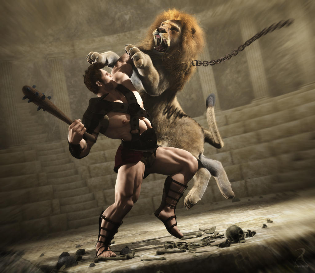 Hercules and the Lion by RawArt3d