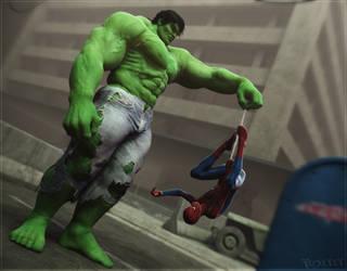 Hulk vs Spidey2 by RawArt3d