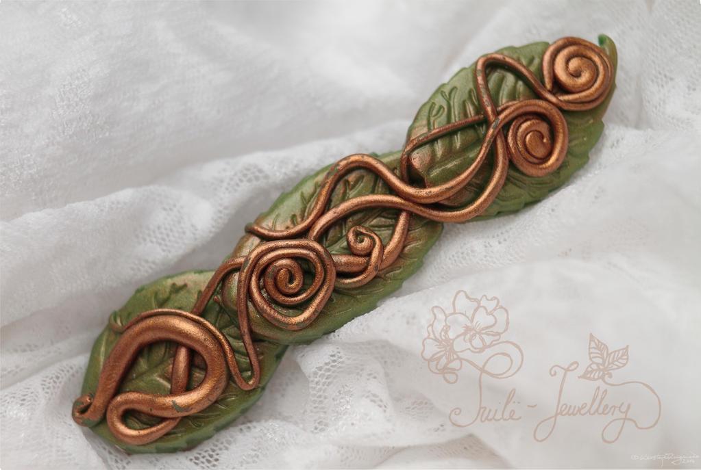 Brass serpents barrette by Tuile-jewellery