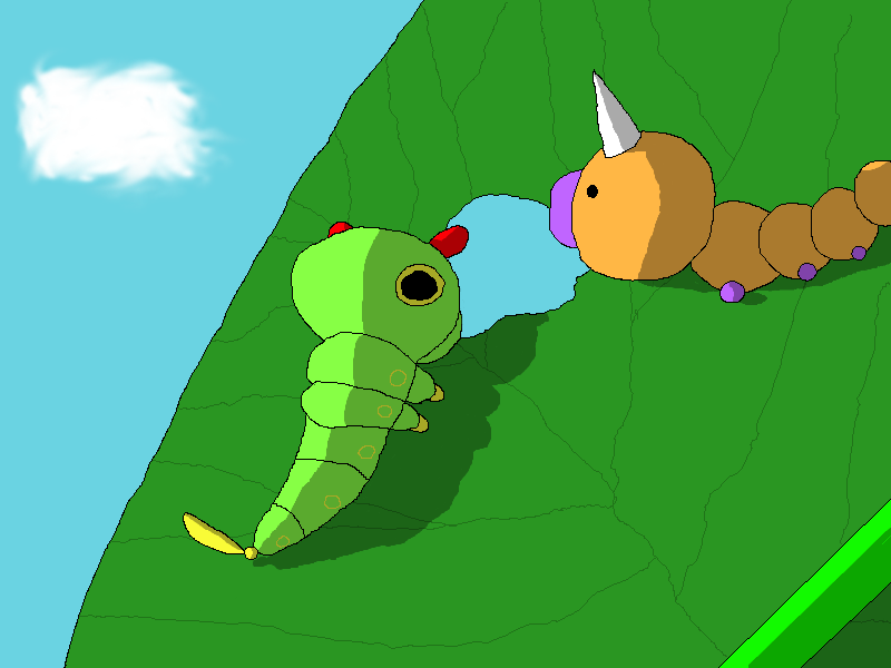 Caterpie and Weedle on a leaf by apenpaap on DeviantArt