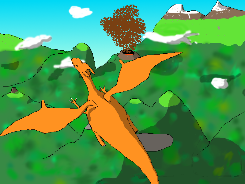 Charizard flying over mountain by apenpaap on DeviantArt