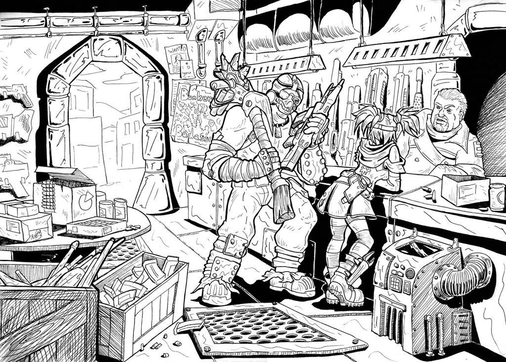 Borderlands Gun Shop by Wazaga