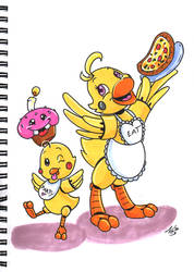 FNaF AU - Mama Chica, Little Chicky and Cuppy