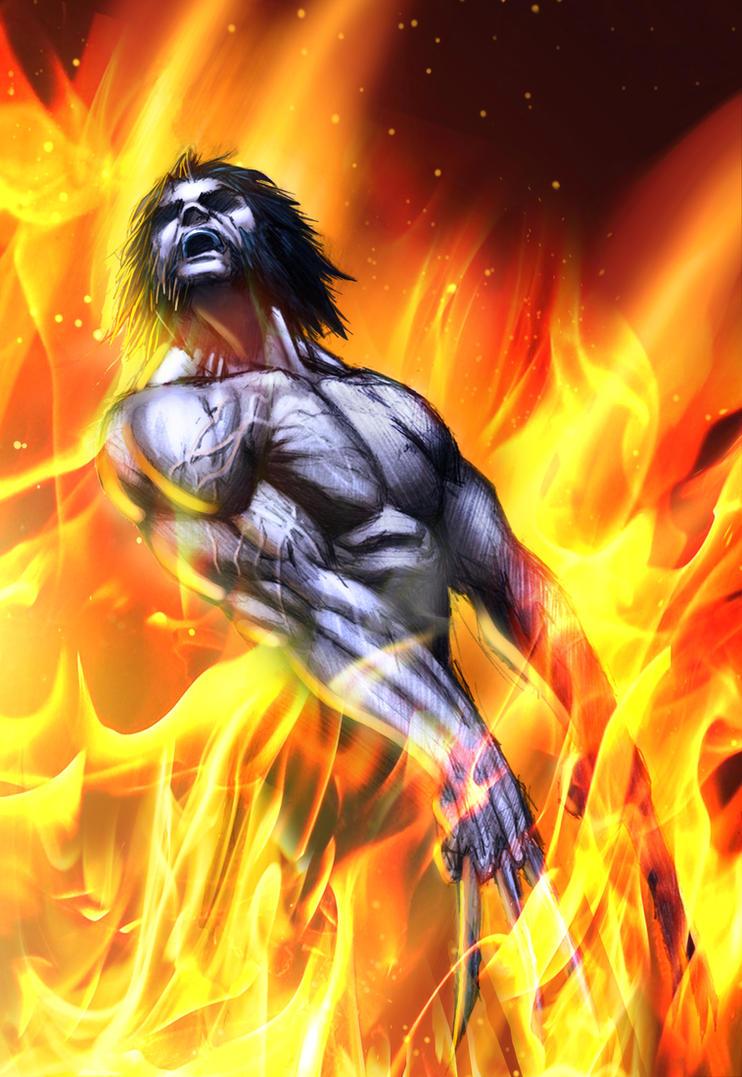 Wolverine in fire by juan7fernandez