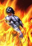 Wolverine in fire