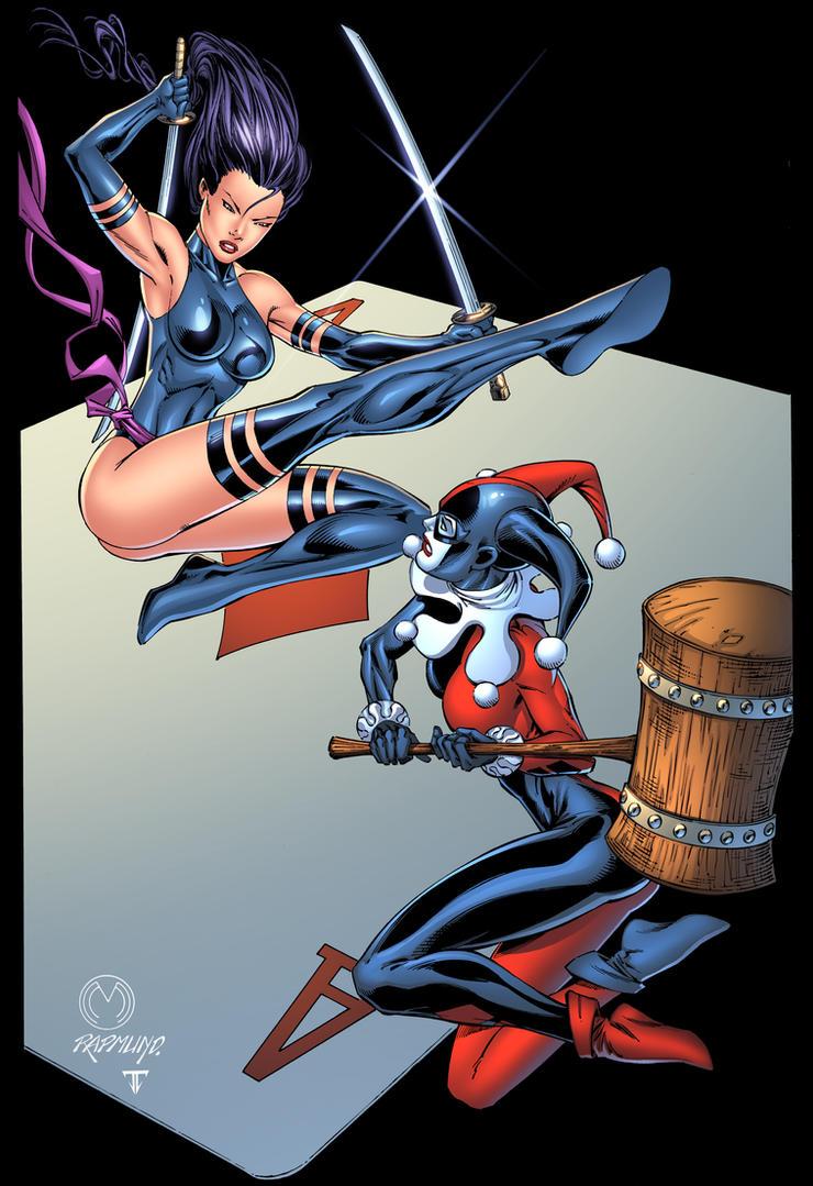 Harly Quinn VS Psylocke by juan7fernandez