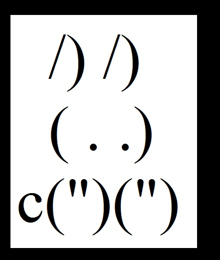 Text Art Rabbits Gallery created from ASCII Letters and Keyboard ...