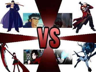 red vs blue fight (Momotaro X Ruby Vs Dante X BRS) by Sgtsoupie