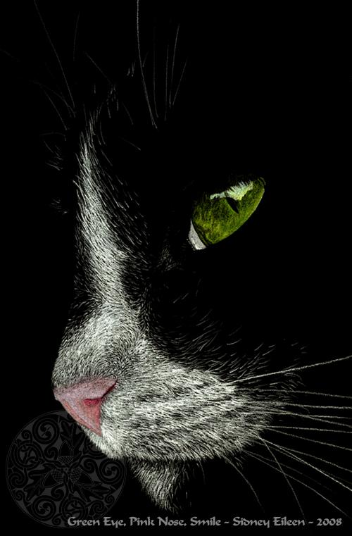 Green Eye, Pink Nose, Smile by sidneyeileen