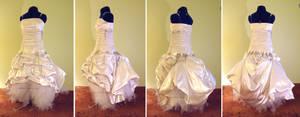 PunkRock Wedding Dress Bustled