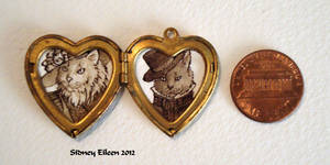 Mr. and Mrs. Cats in Heart Locket