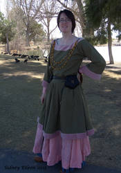 Green Tunic Dress with Pink Trim