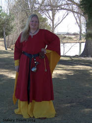 Red and Yellow Angel Sleeve Tunic Dress