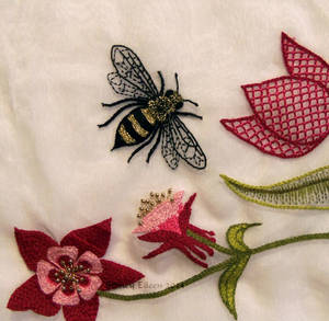 Scalloped Veil - Detail - Embroidered Bee