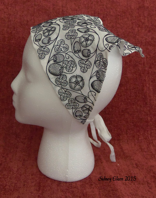 Blackwork Embroidered Forehead Cloth by sidneyeileen