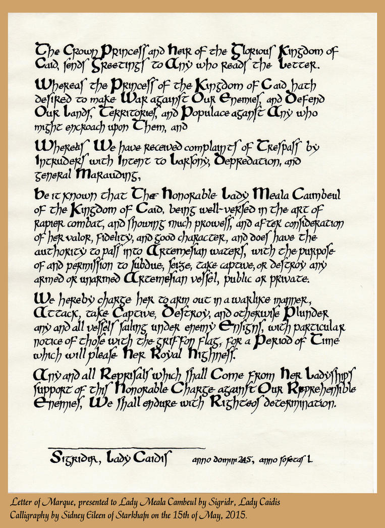Letter of Marque for Lady Meala Cambeul by sidneyeileen
