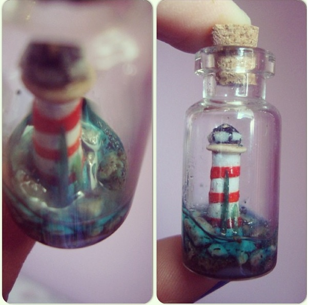 Lighthouse in a Bottle Charm by knuxnbats