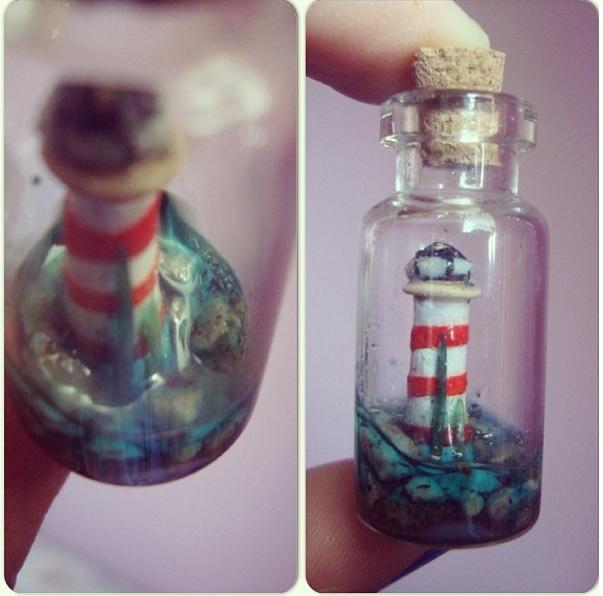 Lighthouse in a Bottle Charm by knuxnbats