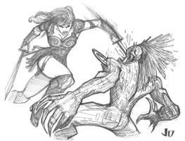 DSC - Xena vs. Warlock by arsenalgearxx