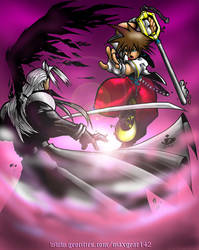 Sora vs Sephiroth color by arsenalgearxx