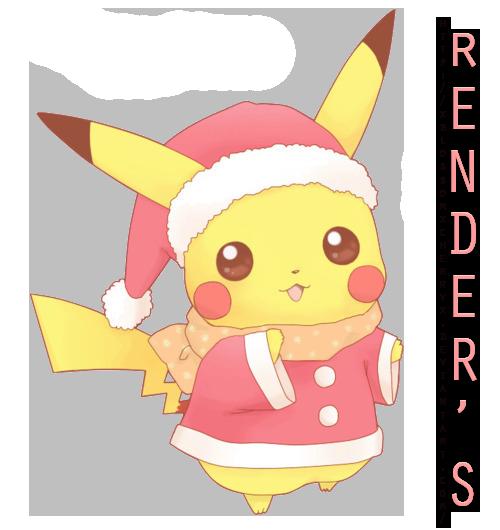 Pikachu'Christmas'Cute'Render by xBLossomxCherryx