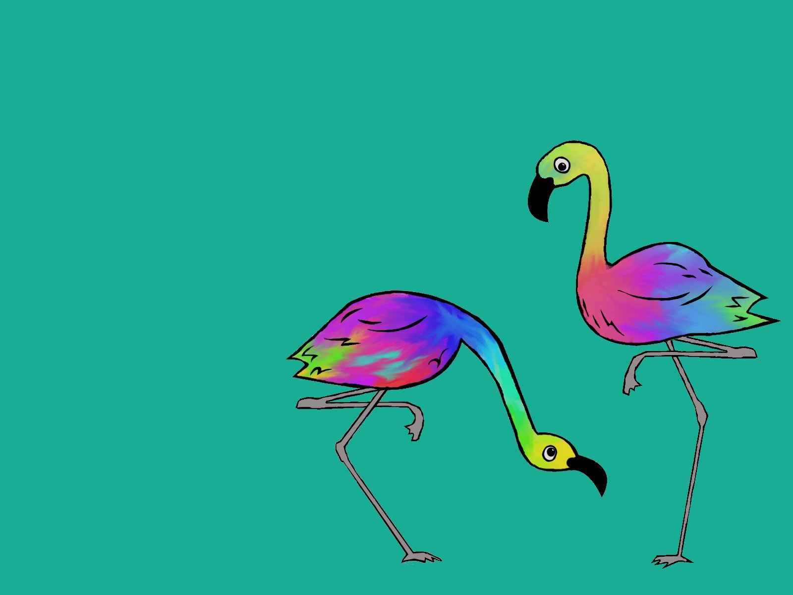 Rainbow Flamingos by fallen-magic on DeviantArt
