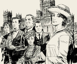 Downton Abbey Ink Sketch by urban-barbarian