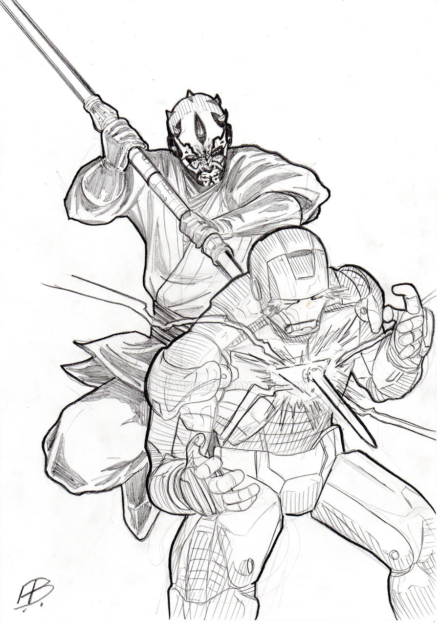 darth maul vs iron man by ellbalson on deviantart