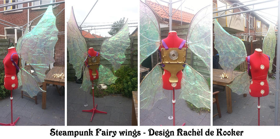 Iridescent steampunk fairy (foil) wings by Firefly182
