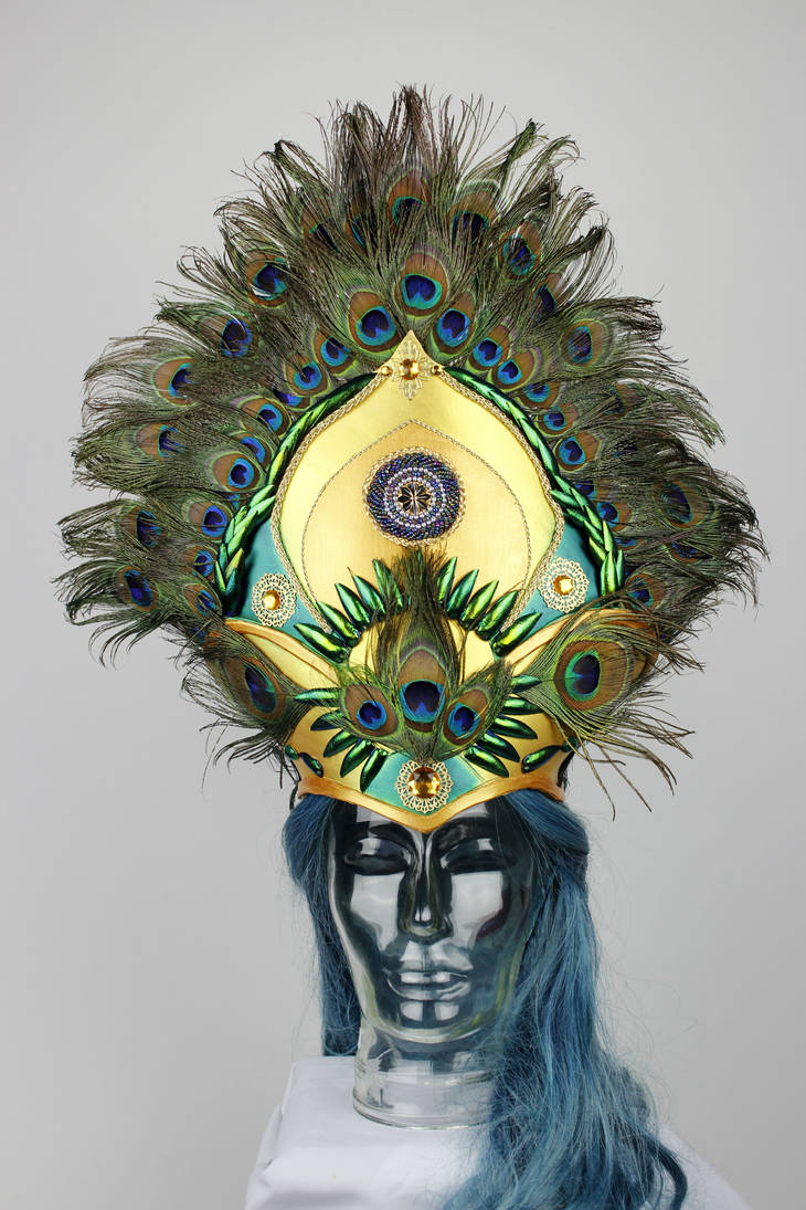 Shimmering gold and green peacock headpiece