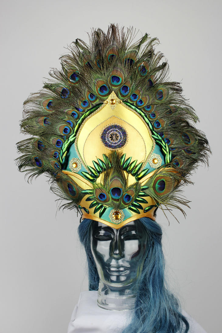 Shimmering gold and green peacock headpiece by Firefly182
