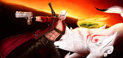 Amaterasu and Dante - Demon Hunters by 25Tachigami