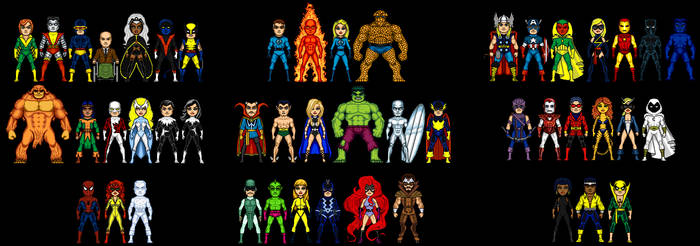 Marvel Micro Hero Teams by grego23
