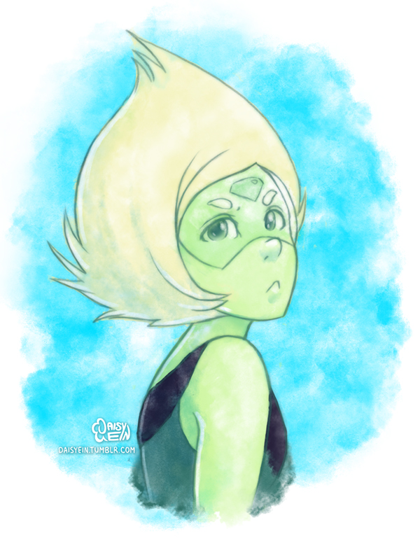 Peridot and some watercolor brush experimentation I may or may not be in love with a space dorito. Feel free to visit me on Tumblr if you'd like to see some sketches and other stuff! More SU from m...