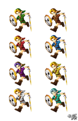 Young Link's Smash4 Menu Inspired Pose (recolors) by S3BurningRose