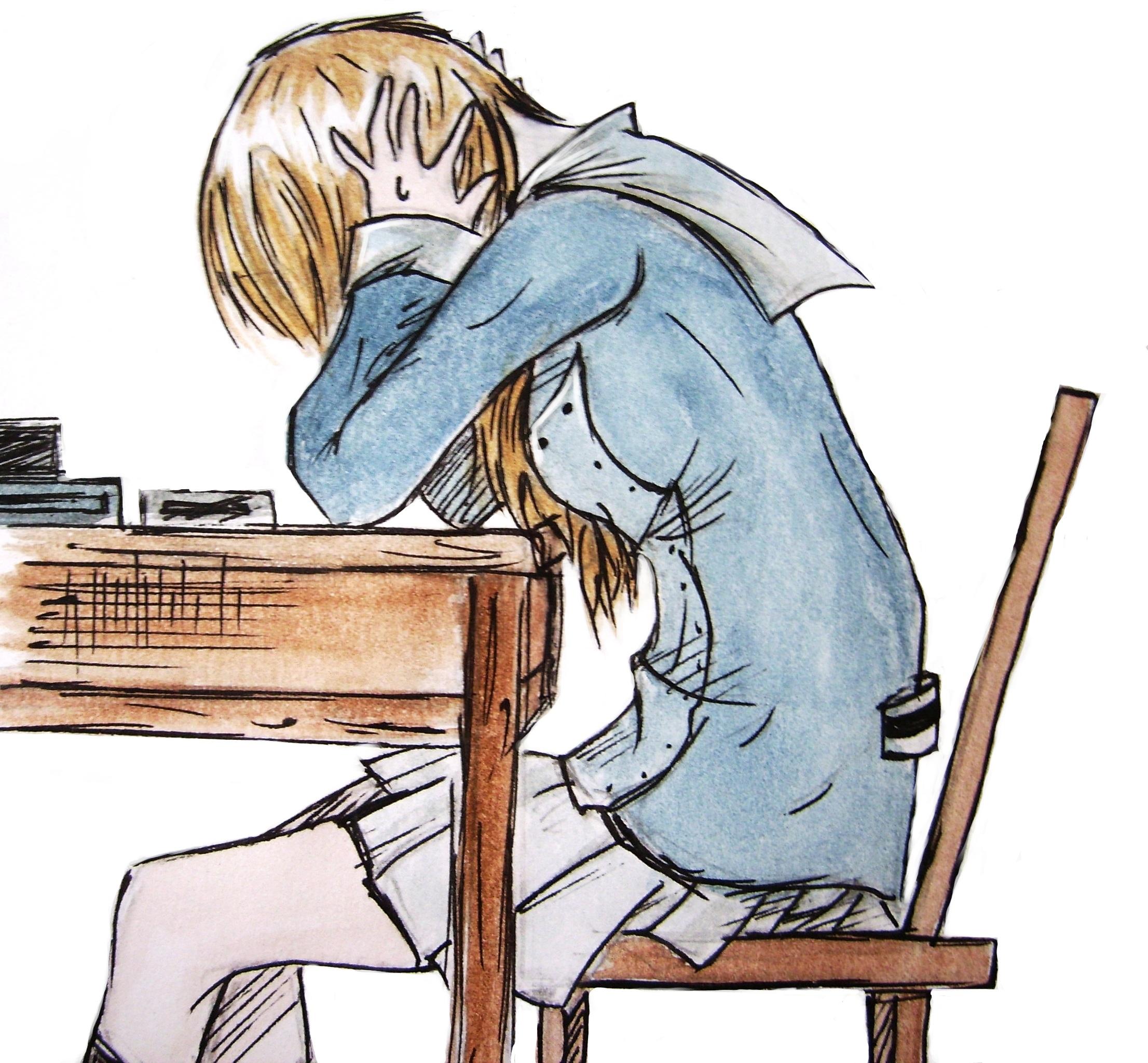 girl studying clip art