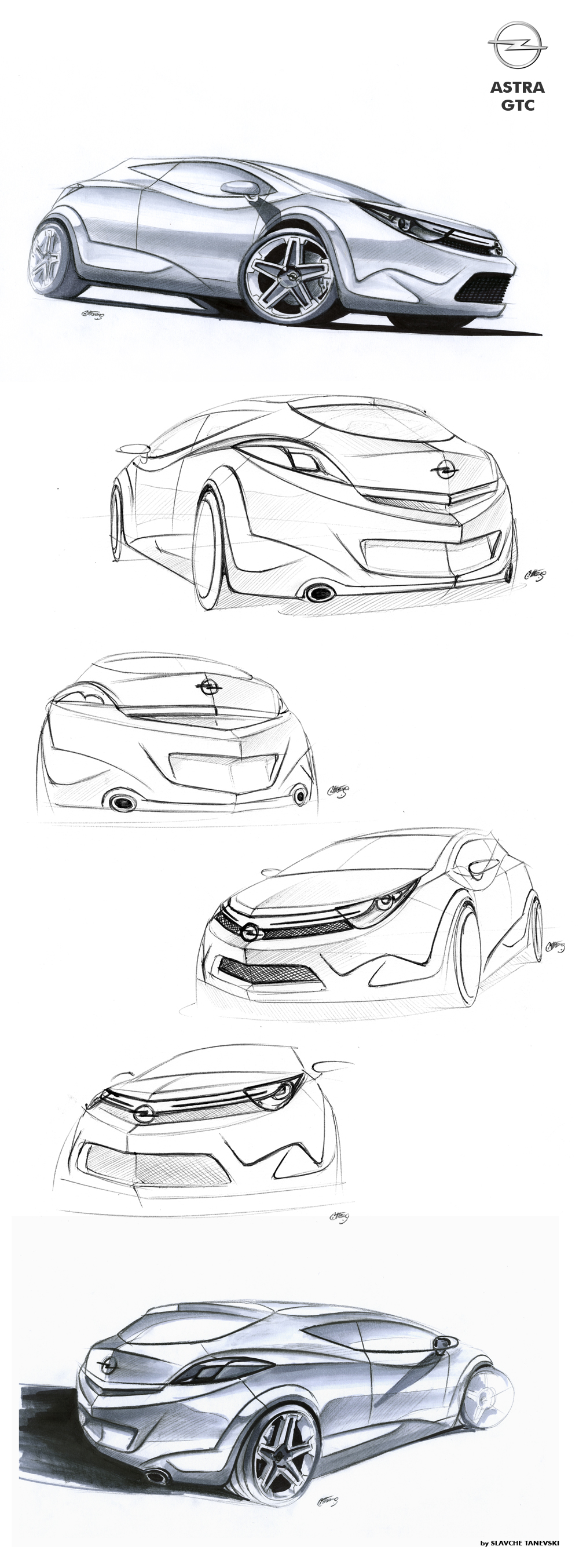 Opel Astra GTC sketches by Slavche