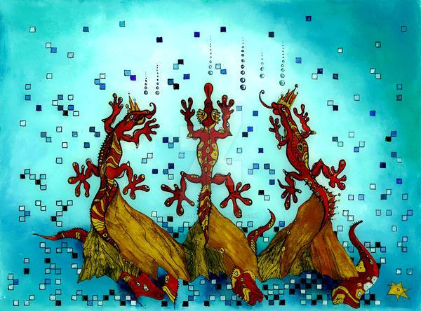 Salamander King - reverse glass painting by Loki-Liesmith