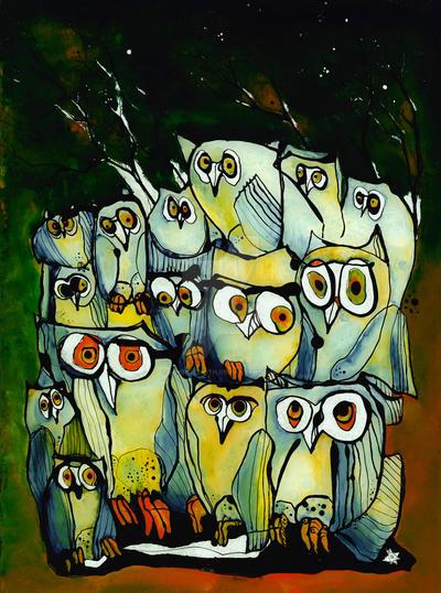 Autumn Owls - reverse glass painting by Loki-Liesmith