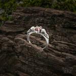 Raven Skull and Garnet Promise Ring