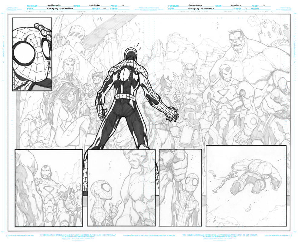 Avenging Spider Man 1 Pages 8 to 9 WIP Inks by BigBlue2007