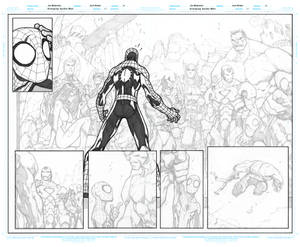 Avenging Spider Man 1 Pages 8 to 9 WIP Inks