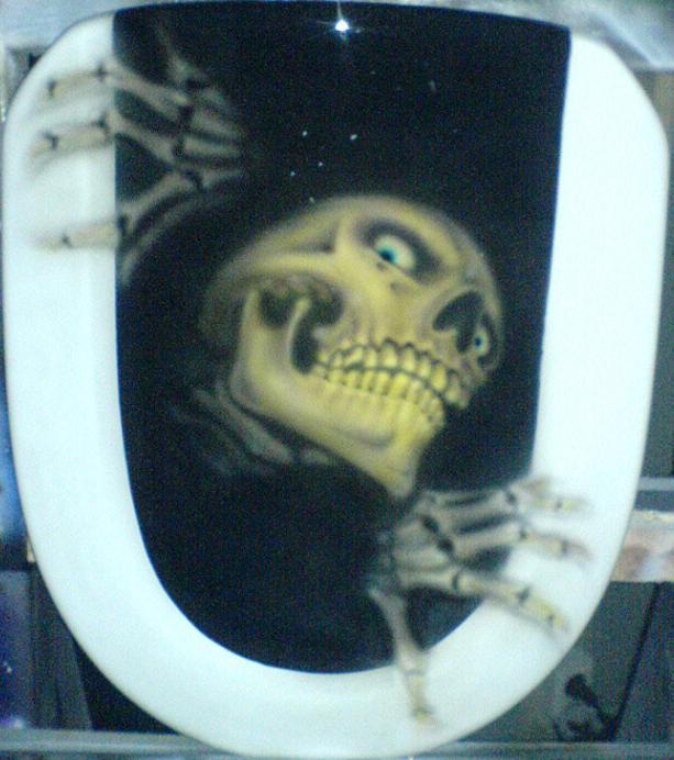 Airbrush Skull On Toilet Seat By Aircap On Deviantart