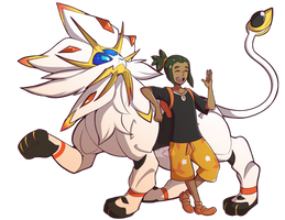 Solgaleo and Hau by Kr-o
